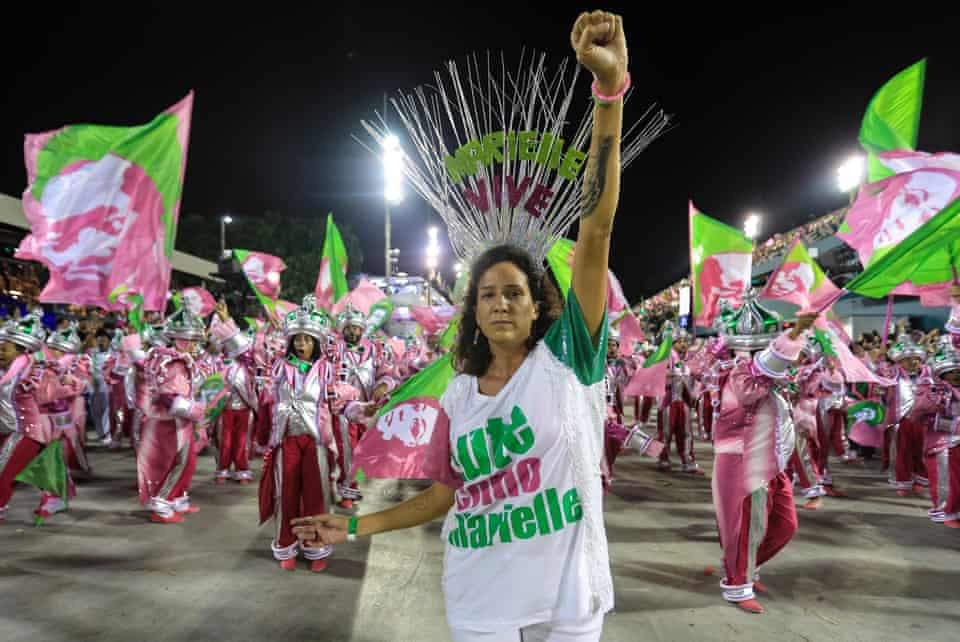 Monica Benicio, ex-partner of council woman Marielle Franco, murdered a year ago a at the Rio de Janeiro Carnival.