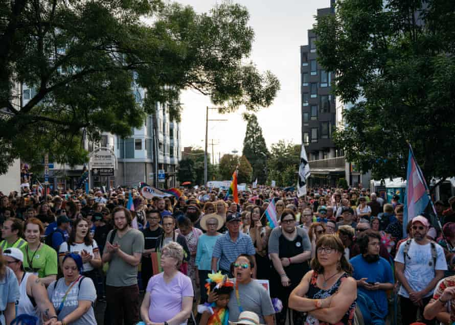 The Trans Pride March gathers before walking towards Cal Anderson Park in Seattle.