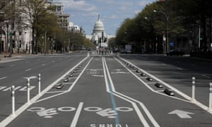 A deserted street in Washington DC during the lockdown.