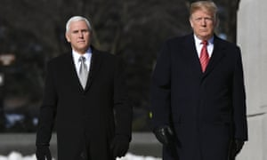 Donald Trump and Vice-President Mike Pence visit the Martin Luther King Jr Memorial in Washington, DC on Monday.