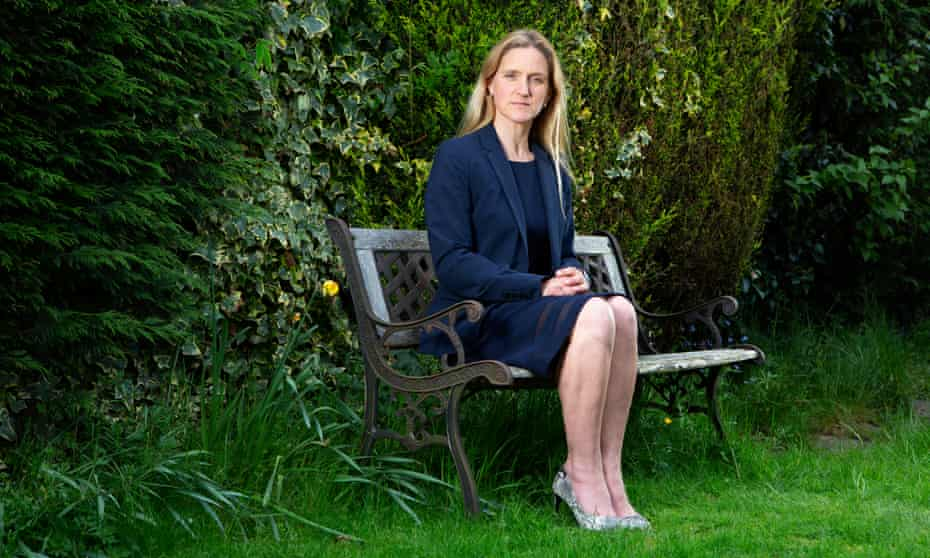 Kim Leadbeater, sister of murdered MP Jo Cox, sitting on a bench in her garden