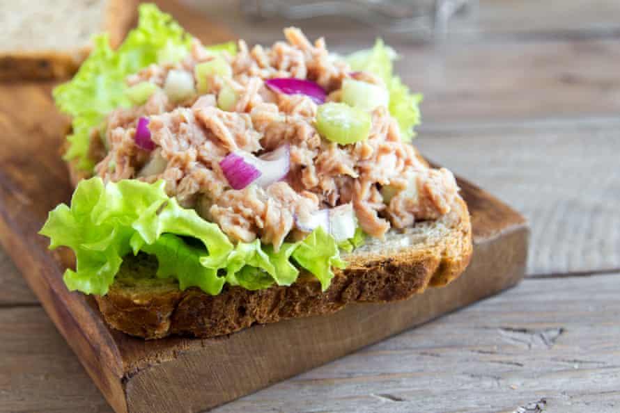 A homemade tuna salad sandwich