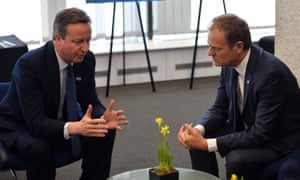 David Cameron with European council president Donald Tusk, who revealed that Cameron never believed the referendum would actually happen