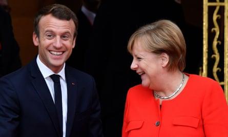 Macron with Angela Merkel in Frankfurt earlier this month.