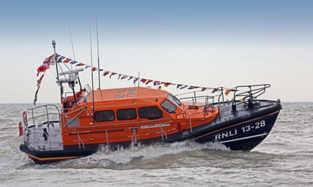 An RNLI lifeboat in action in Hastings