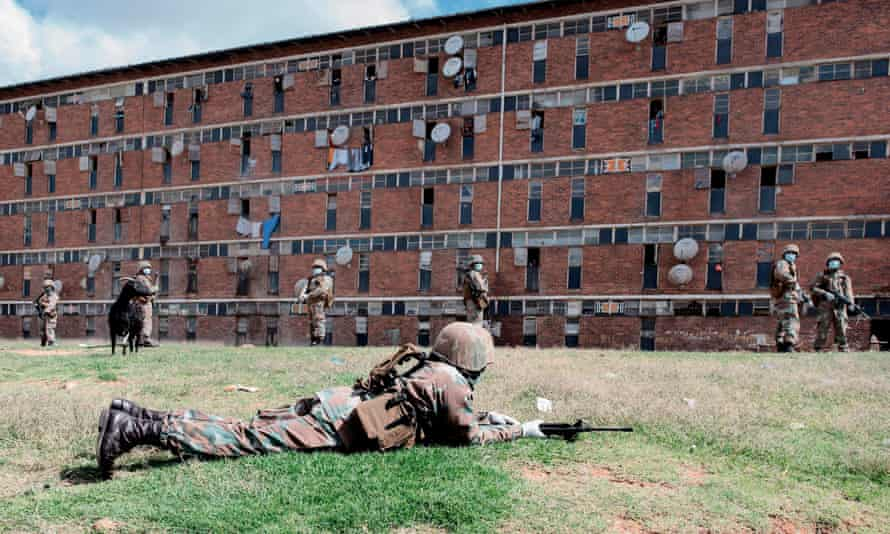 Armed soldiers enforce lockdown in Johannesburg's Alexandra township