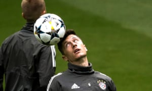 Bayern Munich forward Robert Lewandowski during a training session at the Bernabéu.