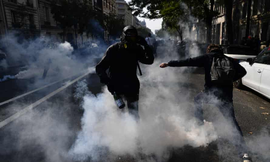 French police uses teargas during a demonstration called by the gilet jaunes.