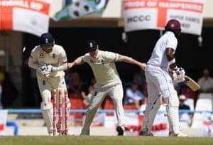 England wicket keeper Jonny Bairstow stumps Darren Bravo of West Indies.