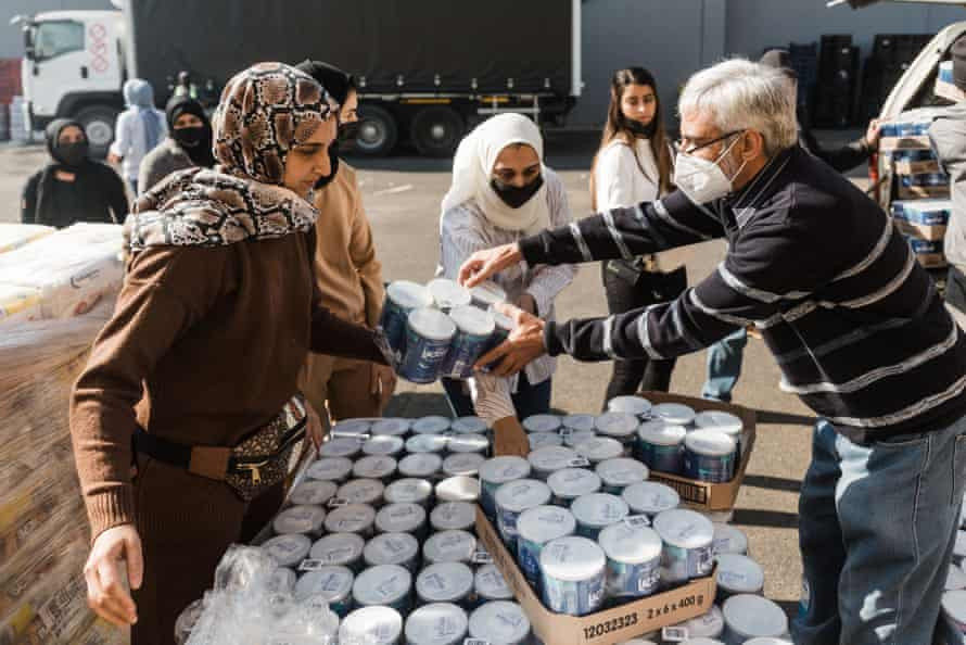 Volunteers from Muslims For Humanity pack baby food, Durban.