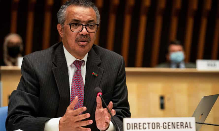 World Health Organisation chief Tedros Adhanom Ghebreyesus in Geneva where the annual meeting discussed the origins of Covid-19..