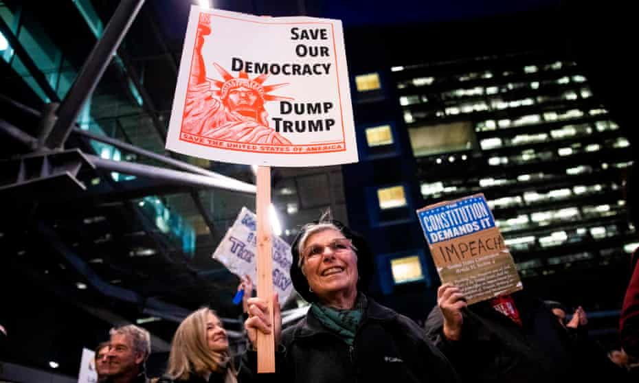 Protesters in San Francisco play their part in a national impeachment rally.