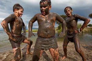 Māori boys perform a haka in Rotorua