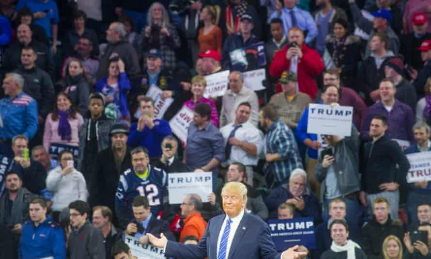 Donald Trump Campaign RallyLOWELL, MA - January 4: Donald Trump speaks without a teleprompter to a crowd on January 4, 2016, in Lowell, Massachusetts. Thousands attended the rally in packed Paul E. Tsongas Center Arena at UMass Lowell. (Photo by Ann Hermes/The Christian Science Monitor via Getty Images)