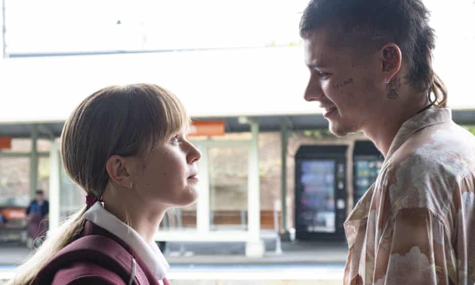 Eliza Scanlen and Toby Wallace at a Sydney train station in a scene from Babyteeth