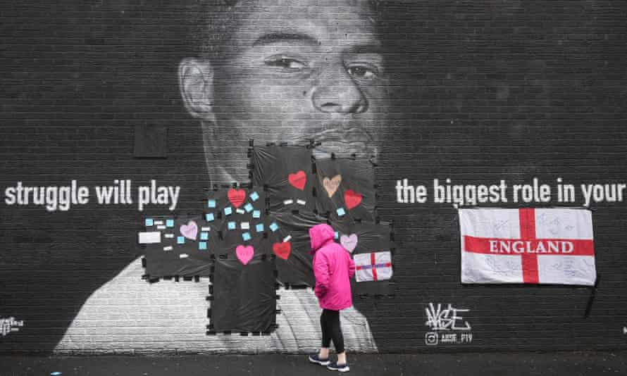 A mural of the England forward Marcus Rashford was defaced in Manchester.