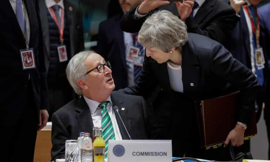 Jean-Claude Juncker and Theresa May at an EU summit in Brussels, December 2018