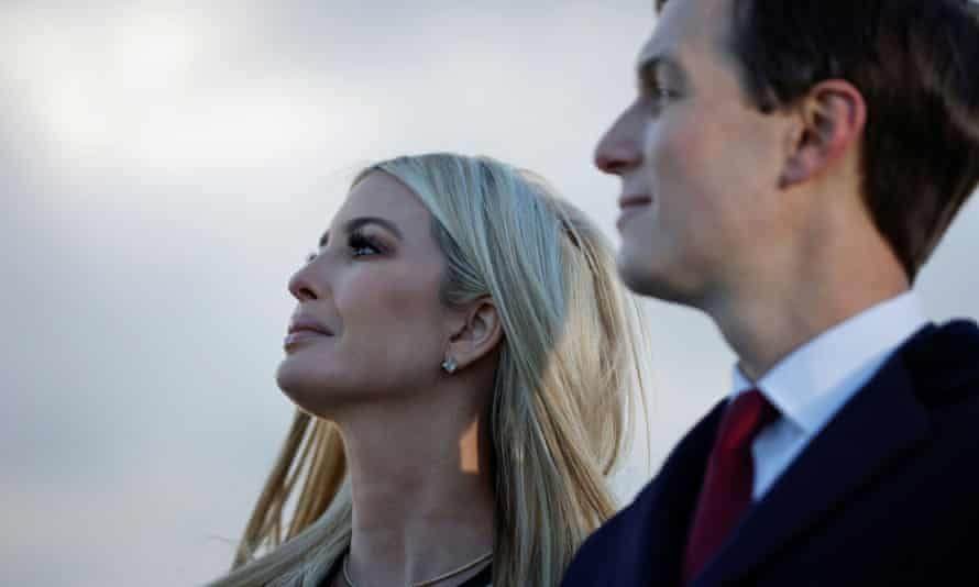 Ivanka Trump and Jared Kushner watch as Donald Trump speaks at the Joint Base Andrews, Maryland, as he left office on 20 Januaary.