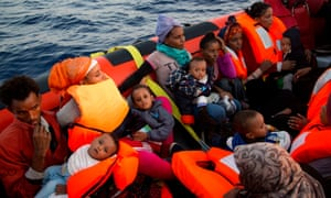 People from Eritrea on a rescue boat off the Libyan coast.