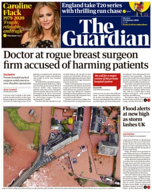 Guardian front page, Monday 17 February 2020