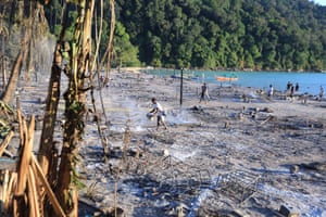 The scorched remains of the Moken village on Surin Island
