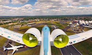 Airbus's E-Fan 2.0 electric protoype plane flying over Farnborough. The E-Fan X will be larger and is being developed by Airbus, Rolls-Royce and Siemens jointly.