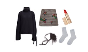 Jumper, £395, joseph-fashion.com Skirt, £49.99, zara.com  Lipstick, £36, Victoria Beckham for Estee Lauder net-a-porter.com Socks, £4, asos.com  Heels, £40, topshop.com