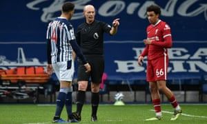 No goal as Mike Dean rules it out.