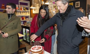 Hugh Grant campaigning with Iain Duncan Smith challenger Faiza Shaheen in Highams Park.