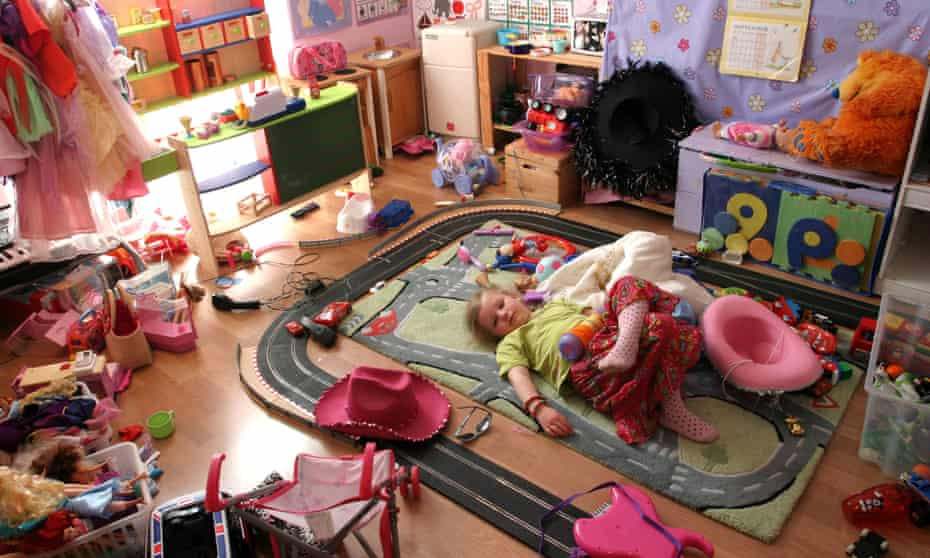 Young Girl lying in her Playroom.