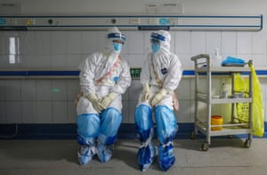 Medical staff at the Wuhan Red Cross hospital