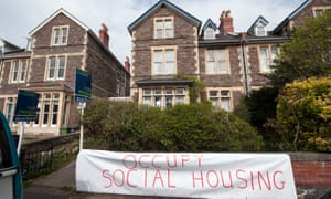 Bristol Housing Action Movement occupying a council house in protest at its being sold in an auction in 2016.