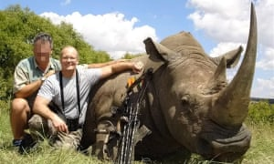 Walter Palmer with a dead white rhino