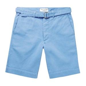 light blue cotton twill shorts