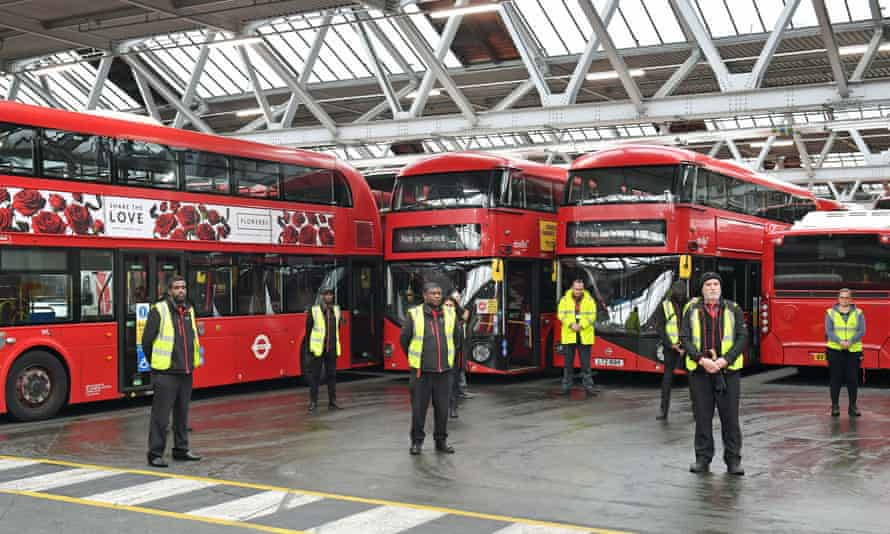 Staff in a London bus depot pay tribute to NHS workers. Public transport workers need protection too.
