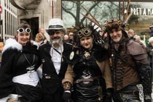 Participants in steampunk costumes from Peter Wallder troupe during London's New Year's Day Parade 2018