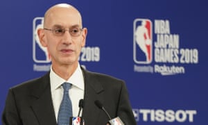 NBA Japan Games 2019 in Saitama - Pre-game press conference<br>epa07905596 NBA Commissioner Adam Silver speaks during the pre-game press conference for the NBA Japan Games 2019 between Houston Rockets and Toronto Raptors at Saitama Super Arena in Saitama, Japan, 08 October 2019. EPA/CHRISTOPHER JUE
