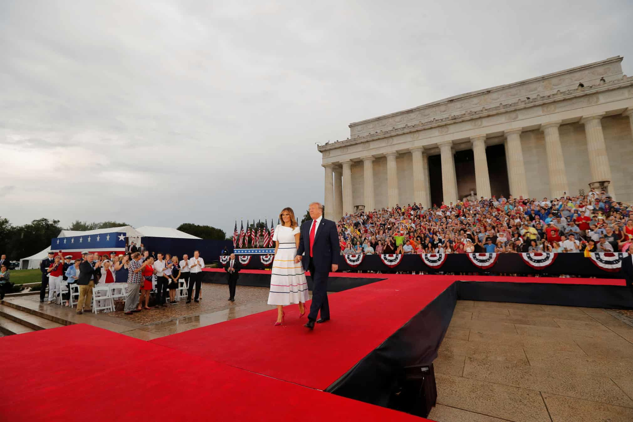"""Donald Trump and first lady Melania Trump arrive for the """"Salute to America"""""""