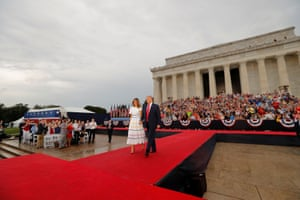 Donald Trump and first lady Melania Trump arrive for the Salute to America