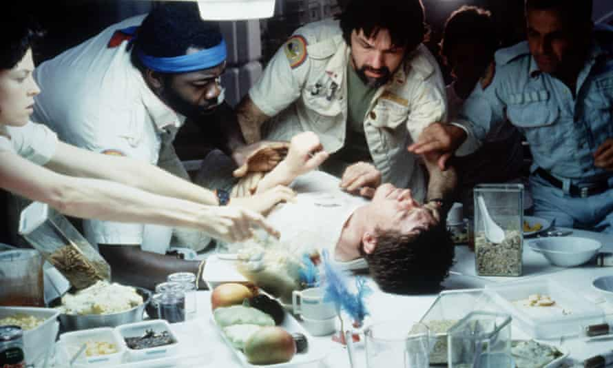 The alien foetus erupts from the stomach of Kane, played by John Hurt, in Alien.