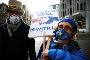 London, UK: Steve Bray and a fellow anti-Brexit protester demonstrate near the conference centre where Brexit trade negotiations are taking place in Westminster