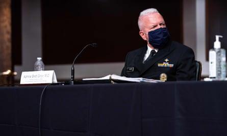 Assistant health secretary Adm Brett Giroir listens during a Senate appropriations hearing on coronavirus on 16 September in Washington DC.