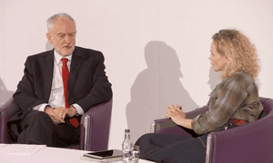 Jeremy Corbyn being interviewed by Maxine Peake