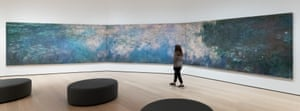 Monet's Water Lilies in a fifth floor gallery at MoMa, New York.