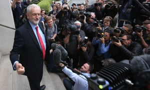 Jeremy Corbyn speaking to the press outside the Institute of Engineering in London, where a party meeting took place as they dealt with the fallout from the sensational leak of its draft General Election manifesto.