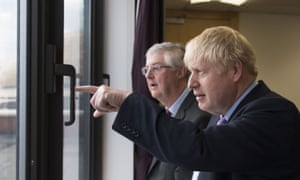 Boris Johnson with Mark Drakeford (left) in Cardiff in July.