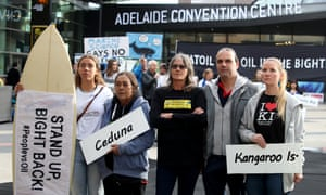 Protesters outside the Australian Petroleum Production & Exploration Association's conference in Adelaide on Tuesday