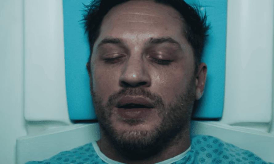 Fiendishly determined … Tom Hardy in the Venom trailer.