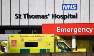 Ambulances outside A&E at St Thomas' hospital in London