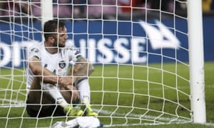 Ireland's defender Shane Duffy reflects after failing to keep Switzerland's second goal out of the net deep into injury time.